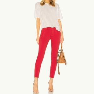 Frame Le-High Skinny Raw Ankle Jeans Sz 30 Red NWT